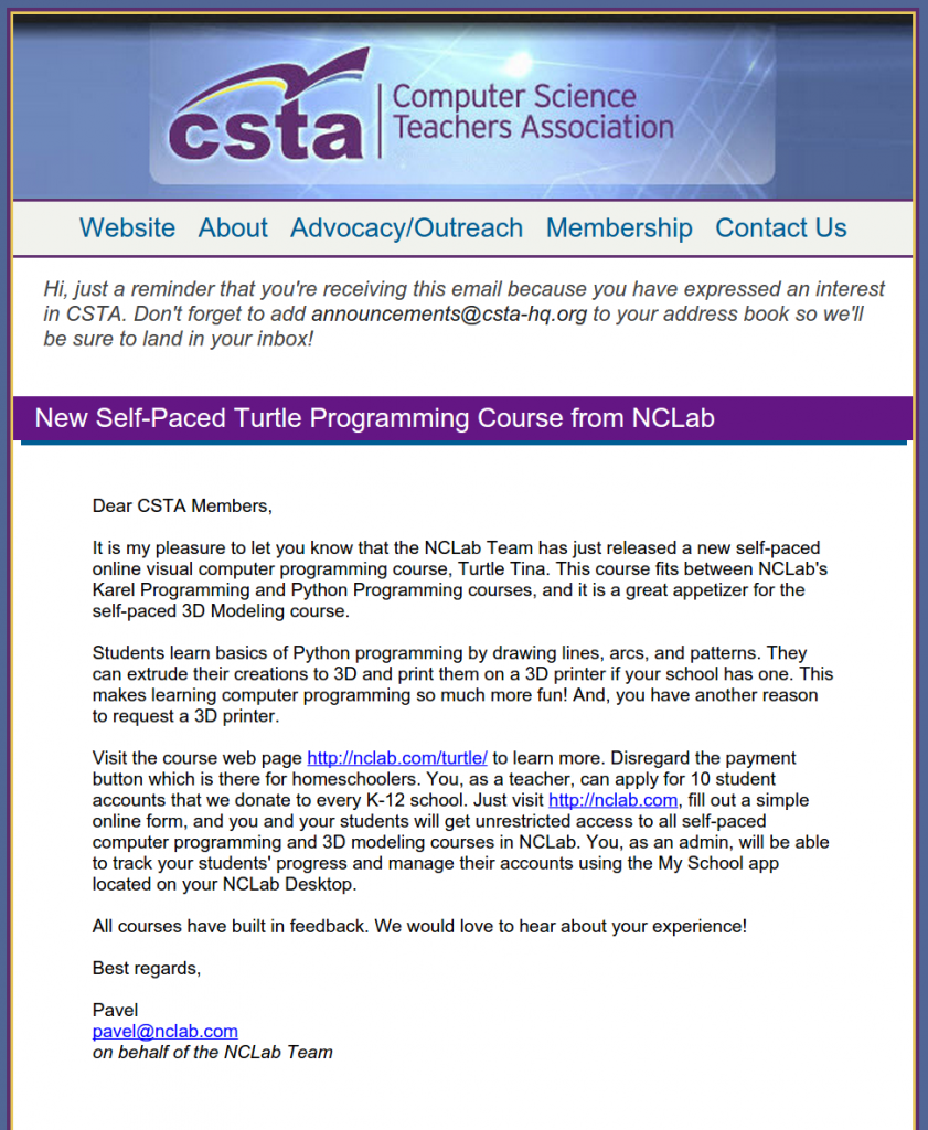 Nclab S New Python Turtle Programming Course Announced By Csta Nclab