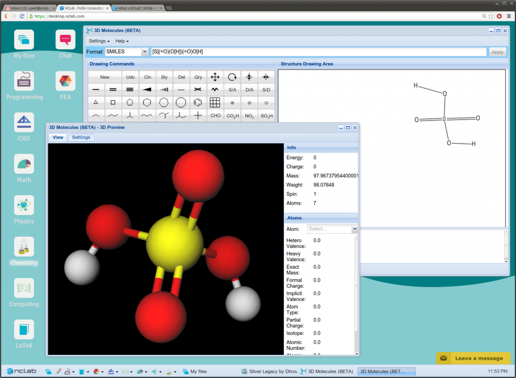 NCLab's 3D molecular modeling module is based on Open Babel and PubChem